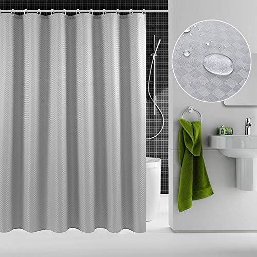 SHIYID Duschvorhang wasserdicht Verdickung Mehltau Duschvorhang Bad Duschvorhang Kleiner viereckiger Duschvorhang Silbergrau 200x220cm