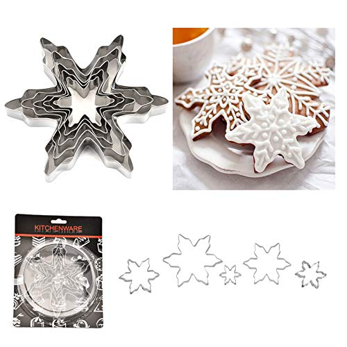 Mziart Christmas Snowflake Cookie Cutter Set of 5, Metal DIY Cookie Mold Biscuit Shapes Molds for Home Baking Holiday Gifts Party Supplies/Favors
