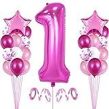 1er Cumpleaños Globos, Decoración de cumpleaños 1 en Rosas, Feliz cumpleaños Decoración Globos 1 Años, Globos Numeros para Fiestas,Globos de Aluminio para Niñas