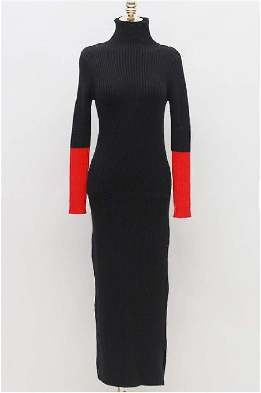 Cxlyq Dresses Autumn Winter Turtleneck Skinny Women Sweater Dress Hit color Sleeve Knitted Long Dress Side Split Warm