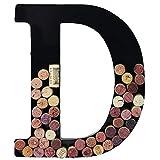 Metal Wine Cork Holder Monogram Decorative Wall Letter (D)