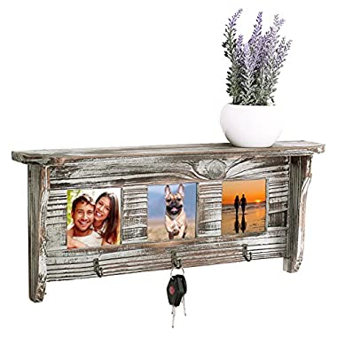 Wall Mounted Rustic Torched Wood Entryway Photo Frame Shelf with 3 Key Hooks