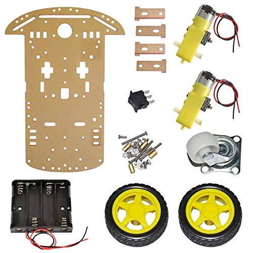 PrimeRobotics CT-PS-2WDKIT 2Wd Smart Robot Bot with Chassis, Bo Motor, Wheels, Clamps, Speed Encoder, Battery Box, Switch - Diy Robot Chassis
