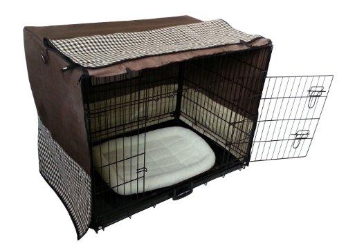 Hundegitterbox Komplettset mit Abdeckung und Liegematte Schafffell X-Treme Safe 5 Größen wählbar inkl. Bodenwanne