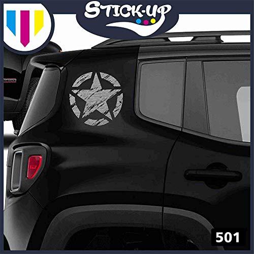Kit Adesivi. - 2 Pezzi Stella Militare Vintage fiancata Posteriore - 20x20 cm - Fuoristrada 4X4 Fiancate Cofano Jeep Renegade Suzuki Offroad Adesivi Stickers Fiancate AUT Decal (Argento)