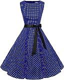 Bbonlinedress Robe Vintage rétro 1950's Audrey Hepburn de soirée Cocktail Mariage Anniversaire année 50 Rockabilly Navy Small White Dot XL