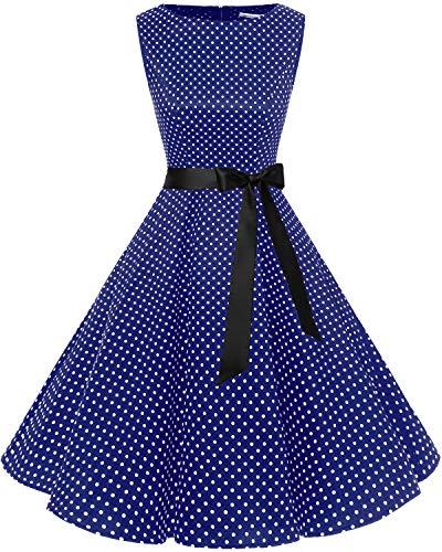 Bbonlinedress Women's Retro 1950s Vintage Swing Rockabilly Party Cocktail Dress Navy Small White DOT XL
