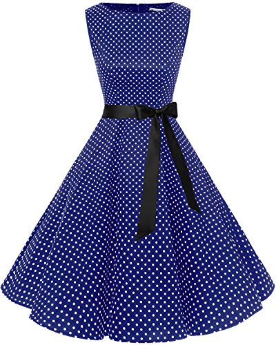 Bbonlinedress 50s Retro Schwingen Vintage Rockabilly Kleid Cocktail Faltenrock Navy Small White Dot XL