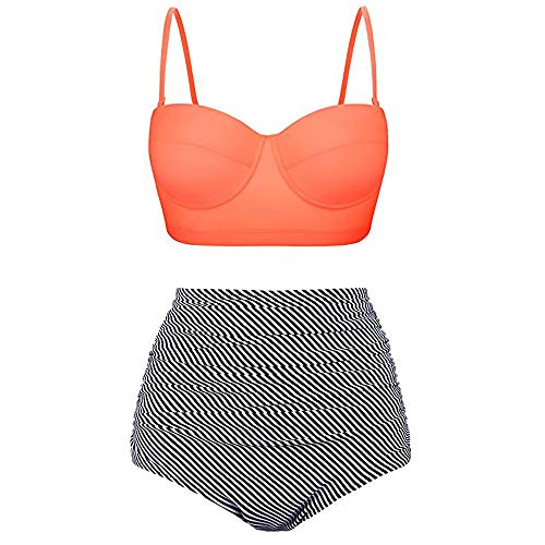 Dorical Bikini Set Damen, Frauen High Waist Bademode Zweiteilige Strandkleidung Badeanzug mit Nationaler Stil Drucken Bikini Oberteil und Bikinihose Sale(Orange,Small)