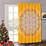 Aishare Store Split Room Divider Curtains, Decor Retro Oriental Embellished Circular Mehndi Arabesque Curved Form Kirsch Image Red Orange, Vertical Blinds for Dining Room, 1 Panels W100 x L96