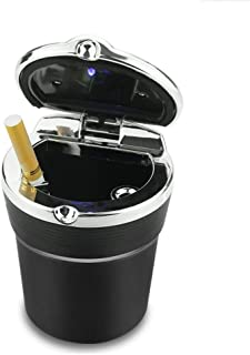 Car ashtray With LED Lights, Easy Clean Up Detachable Stainless Car Ashtray, Black