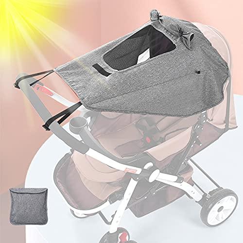 Parasol para Cochecito, Sombrilla para Cochecito, Toldo Universal para Bebés Cochecitos, Parasol Ajustable con Protección UV 50+, Función de Persiana Enrollable (Gris)
