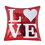 Mermaid Red Sequin Pillow Cover, Decorative Sequin Love Pillow Case Magic Reversible Throw Pillow Cushion Case with Zip Color Change Pillowcase For Sofa Couch Car Kids Gift Bedroom, 16' x 16' LOVE