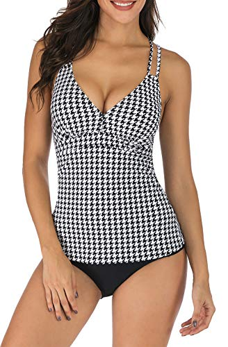 Vogueric Tankini Swimsuits for Women V Neck Criss Cross Back Top with Swimwear Bottom Two Piece Bathing Suit Houndstooth Medium