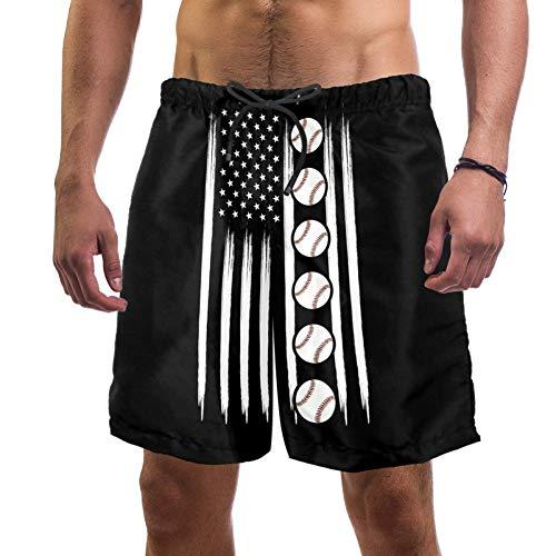 Lorvies Herren Baseball-Shorts mit amerikanischer Flagge, schnell trocknend, Größe L Gr. Verschiedene Größen, multi