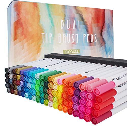 100 colores de doble punta de arte rotuladores de punta fina y marcadores de pincel de colores para niños y adultos, libros de colorear de dibujo, planificador de calendario, proyectos de arte GC-100W