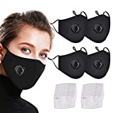 YIZER Face Bandanas Cotton with Breathing Valve, with Activated Carbon Filter, Replaceable Filters for smog and dust Facial Treatment for Adults (4+20)