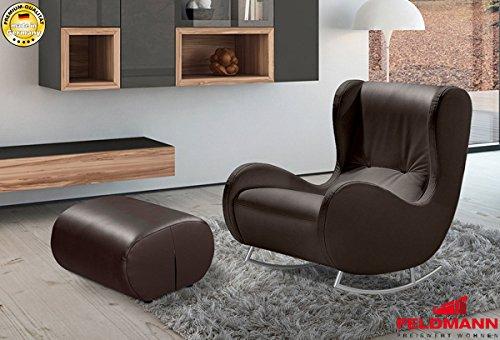 arte-m Schaukelsessel Relaxsessel + Hocker 230511 braun Echt Leder