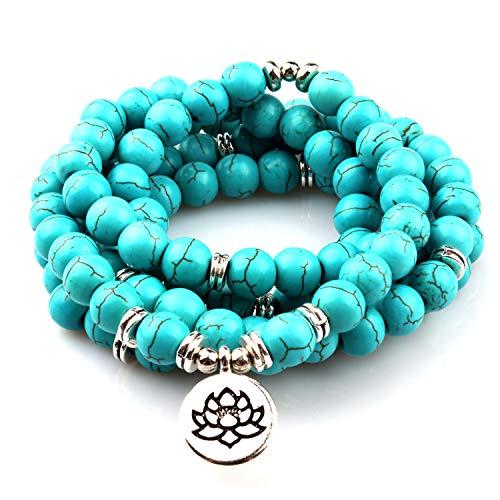 GVUSMIL Collar de cuentas de 8 mm Mala Amazonite 108 para yoga, budista, rosario, oración, pulsera hecha por Natural Gemstone Agate Jade para mujeres y hombres