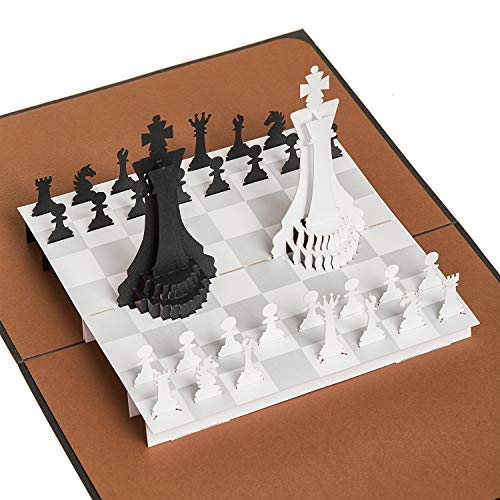 Rykamia Chess Pop Up Card, 6x7.5 in, Happy Birthday Husband Card, 3D Chess Card, Happy Anniversary Card For Husband, Retirement, Graduation Card, Card for Father, Father's Day Card, Science Lover Gift