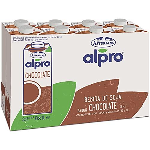 Alpro Central Lechera Asturiana Alpro - Bebida De Soja Con Chocolate, 100% Vegetal, Rica En Proteínas, Apta Para Veganos, Pack De 8 Briks De 1 Litro, 8 Litros 8000 ml