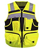 3M Reflective stripes Safety Vest Hi-vis Yellow knitted Vest with 10 pockets Bright Construction Workwear for men and women. (Small)