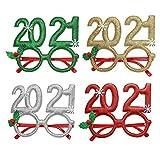 Dusenly Occhiali di Capodanno 2021 Natale Capodanno Party Glitter Occhiali novità Occhiali Divertenti per Adulti Bambini Natale Capodanno Decorazione per Feste, 4 Pezzi