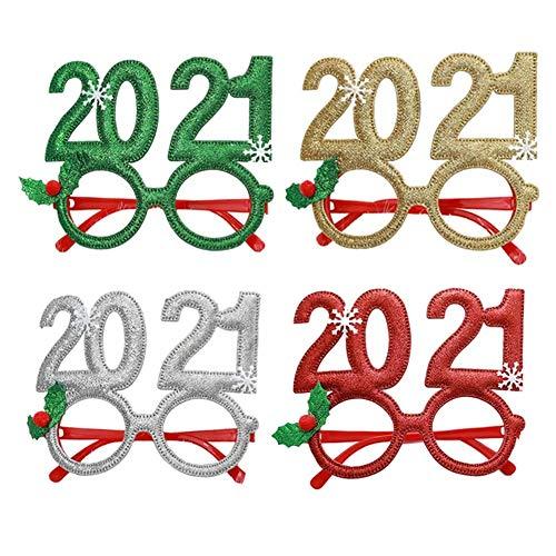 Dusenly 2021 Gafas de Año Nuevo Navidad Fiesta de Nochevieja Gafas con Purpurina Novedad Gafas Divertidas para Adultos Niños Navidad Decoración de Fiesta de Año Nuevo,  4 Piezas