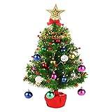 CORST Mini árbol de Mesa de Navidad 50 cm árbol de Navidad Artificial árbol de Navidad de Escritorio, iluminación a Pilas para Navidad, hogar, Cocina, decoración (Todo en un Juego)