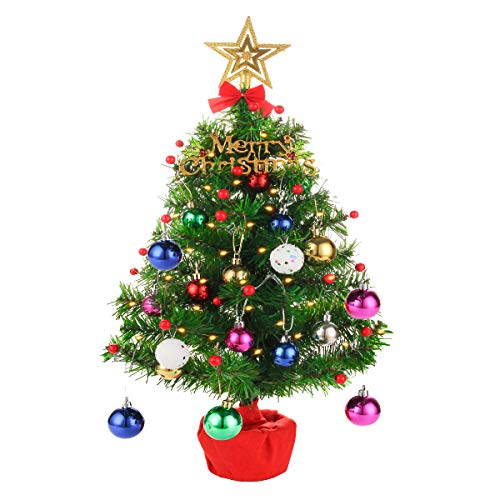 Tabletop Mini Christmas Tree 20 Inch Artificial Christmas Tree Desktop Xmas Tree Battery Operated Lighting for Christmas, Home, Kitchen, Dining Table Decor(All in One Set)
