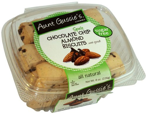Aunt Gussie's Sugar Free Spelt Chocolate Chip Almond Biscotti, 8 Ounce Tub (Pack of 4) packaging may vary.