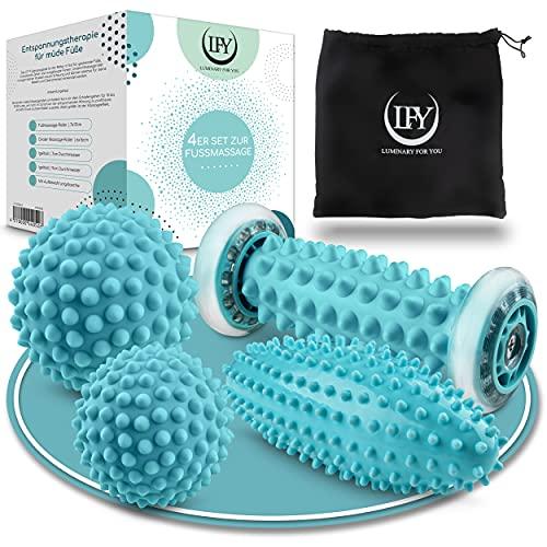 LFY | Fußmassage 4er Set – 2x Igelball Massage bei Plantarfasziitis – 1x Faszienrolle Muskeln in Hand, Fuß, Rücken - 1x Faszienball Massageball
