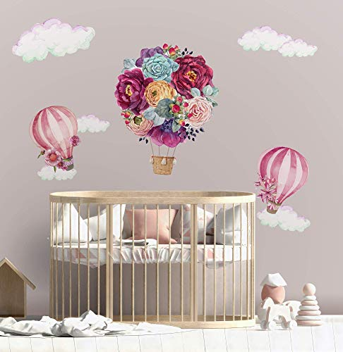 Murwall Kids Wall Decal for Girls Floral Hot Air Balloon Wall Stickers Pink Florals Bouqets Removable Peel n Stick Kidsroom Childroom