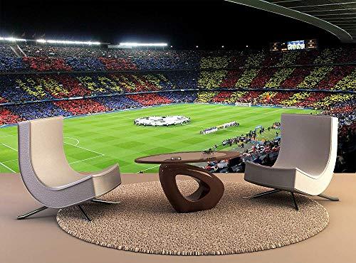 Fototapete FC BARCELONA in der Arena Mauer Fresco Foto Fernseher Sofa Hintergrund Seide Wandmalerei,Kunst Tapeten für Wohnzimmer Schlafzimmer Einrichtung 300cm(W) x210cm(H)-6 Stripes