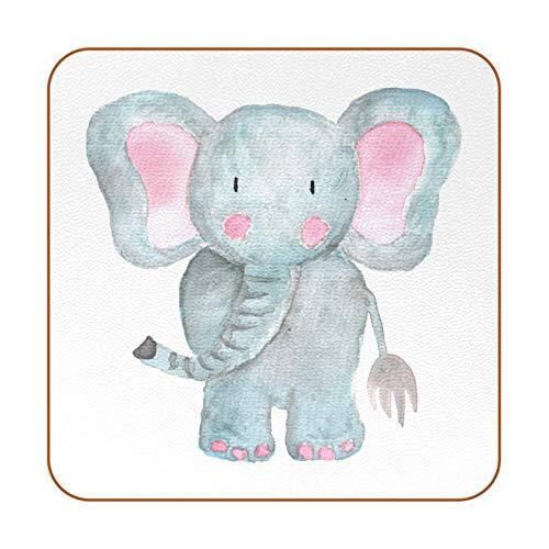 Posavasos para bebidas, juego de 6 posavasos cuadrados para inauguración de la casa, regalo de anfitriona de cocina, decoración de bar, diseño de elefante