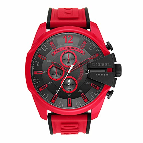 Diesel Mega Chief Chronograph Red Silicone Watch Multi One Size