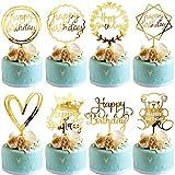 Happy Birthday Topper BESTZY Cupcake Toppers 8 piezas Topper de Pastel de Cumpleaños para...