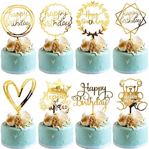 Cake Toppers Birthday BESTZY 8 Stück Geburtstag Kuchen Topper Happy Birthday Tortendeko Tortenaufsatz Kuchendeckel für Geburtstag Party Dekoration