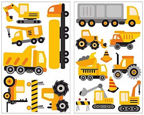 Samunshi® 17-teiliges Baustellen Fahrzeuge Wandtattoo Set Kinderzimmer Babyzimmer in 5 Größen (2x16x26cm Mehrfarbig)