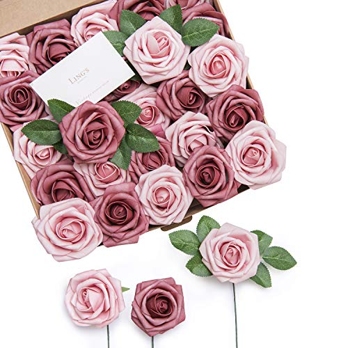 Ling's moment Artificial Rose Flowers 50pcs Torrid Blush & Shabby Blush Foam Roses w/Stem for DIY Wedding Bouquets Centerpieces Bridal Shower Party Home Decorations (Regular 3')