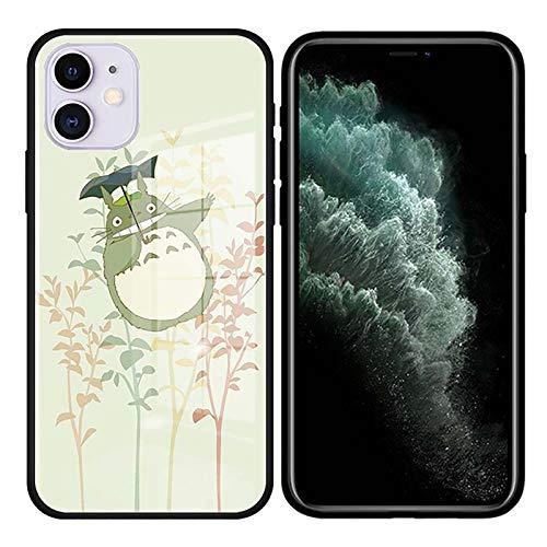 QY-Youth Mi Vecino Totoro Total de Vidrio Funda para teléfono para iPhone 7 8 XR 12 11 Pro MAX SE 2020 x XS MAX 12 Mini Plus Cover Coque,1,iPhone XS MAX