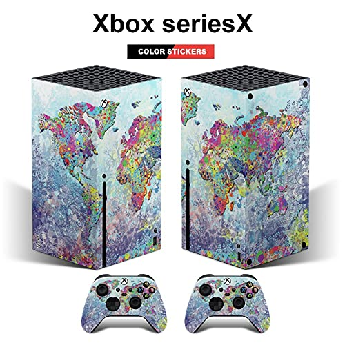 Xbox series X console and controller skins Vintage Watercolor World Map Print Art Vinyl skin decal sticker cover packaging(Xbox seriesX)