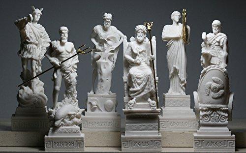 Set 6 griechische Götter Zeus Poseidon Apollo Hermes Hephaestus Ares Statue Figur