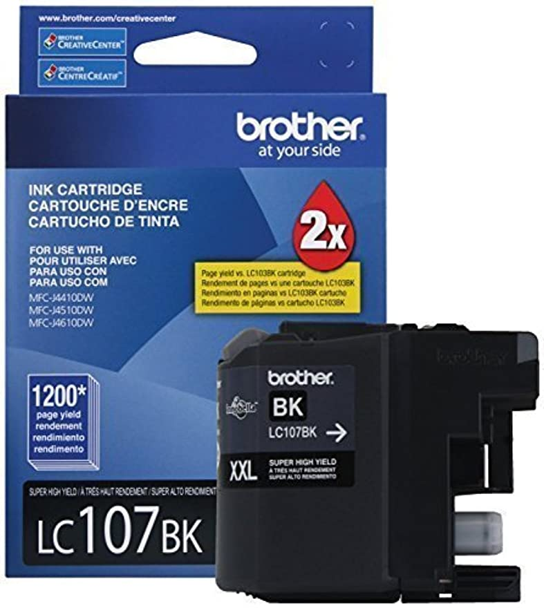 行ガチョウインシュレータBrother Printer LC107BK Super High Yield Cartridge Ink, Black (2, Black) [並行輸入品]