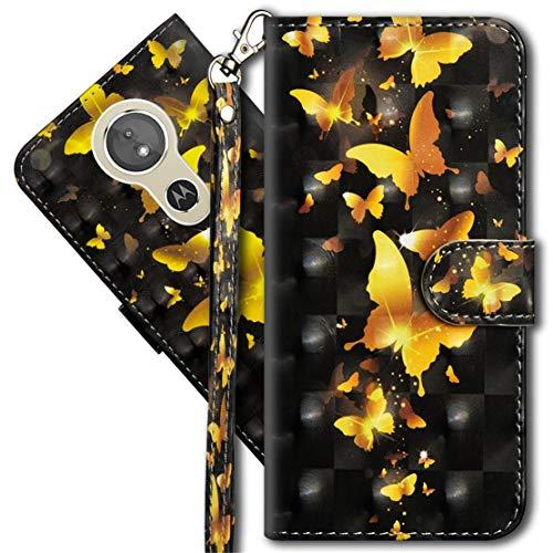 MRSTER Moto G6 Play Handytasche, Leder Schutzhülle Brieftasche Hülle Flip Hülle 3D Muster Cover mit Kartenfach Magnet Tasche Handyhüllen für Motorola Moto E5 / Moto G6 Play. YX 3D - Golden Butterfly