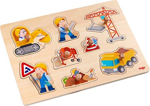 HABA 303697 - Greifpuzzle Baustellen-Welt | Holzspielzeug ab 12 Monaten | 8-teiliges Puzzle aus Holz mit buntem Baustellenmotiv | Mit großen Knöpfen zum Greifen