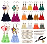 ilauke Wood Earring Making Kit - 4 Different Type of Wood Earring Blanks with Colorful Tassel Earring Hooks Jump Rings etc Perfect for Jewelry Making DIY Earring Ideas