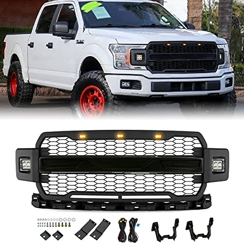 Acmex Front Grill Compatible with F150 2018 2019 2020,Raptor Style Front Grille for F-150 with Side Led Lights, Fit For XL,XLT,King Ranch,Lariat,Platium,SSV,Limited, Police Responder(Matte Black)