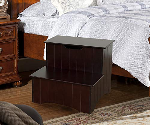 King's Brand Large Cherry Finish Wood Bedroom Step Stool with Storage