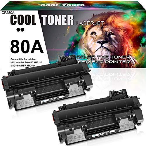 Cool Toner Compatible Toner Cartridge Replacement for HP 80A CF280A 80X CF280X HP Laserjet Pro 400 M401n M401dne M401dn M401dw M401d M401a Laserjet Pro 400 MFP M425dn M425dw Toner Ink (Black, 2-Pack)